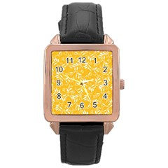 Fancy Floral Pattern Rose Gold Leather Watch