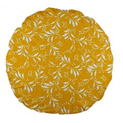 Fancy Floral Pattern Large 18  Premium Round Cushions