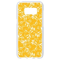 Fancy Floral Pattern Samsung Galaxy S8 White Seamless Case