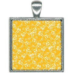 Fancy Floral Pattern Square Necklace