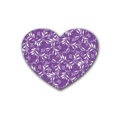 Fancy Floral Pattern Rubber Coaster (heart)  by tarastyle