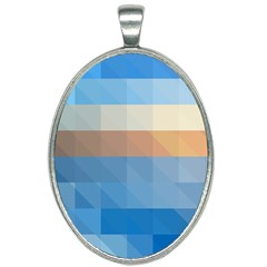 Static Graphic Geometric Oval Necklace