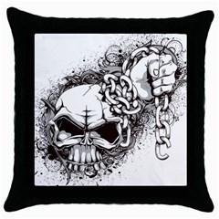 Skull And Crossbones Throw Pillow Case (black) by Alisyart