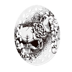 Skull And Crossbones Oval Filigree Ornament (two Sides)