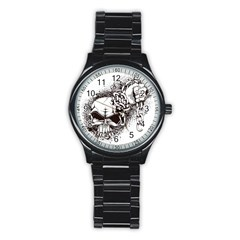 Skull And Crossbones Stainless Steel Round Watch