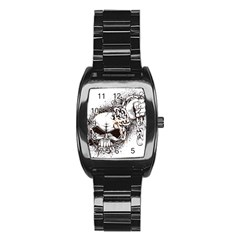 Skull And Crossbones Stainless Steel Barrel Watch