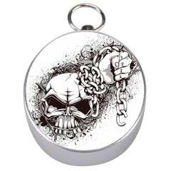Skull And Crossbones Silver Compasses