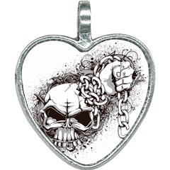 Skull And Crossbones Heart Necklace