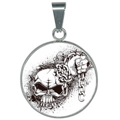 Skull And Crossbones 25mm Round Necklace