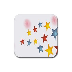 Star Rainbow Rubber Square Coaster (4 Pack)