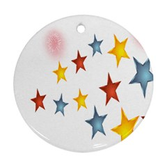 Star Rainbow Round Ornament (two Sides)