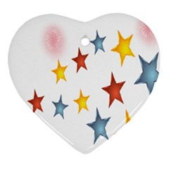 Star Rainbow Heart Ornament (two Sides)