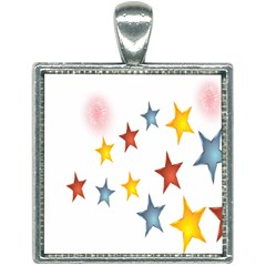 Star Rainbow Square Necklace