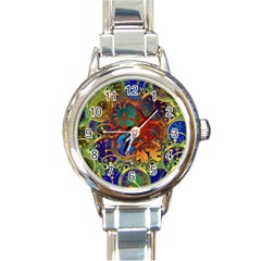 Time Clock Distortion Round Italian Charm Watch by Mariart