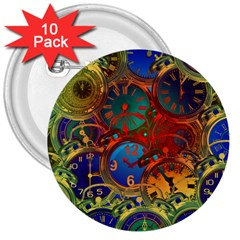 Time Clock Distortion 3  Buttons (10 Pack)