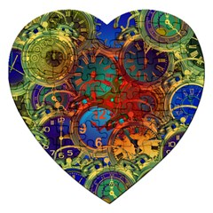 Time Clock Distortion Jigsaw Puzzle (heart) by Mariart