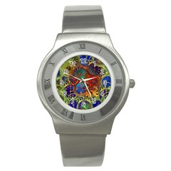 Time Clock Distortion Stainless Steel Watch by Mariart