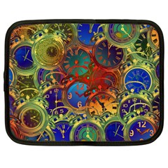 Time Clock Distortion Netbook Case (large)
