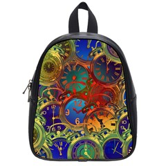 Time Clock Distortion School Bag (small)