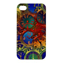 Time Clock Distortion Apple Iphone 4/4s Premium Hardshell Case