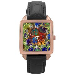 Time Clock Distortion Rose Gold Leather Watch  by Mariart