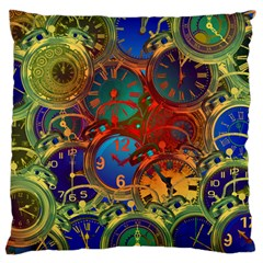 Time Clock Distortion Large Flano Cushion Case (one Side)