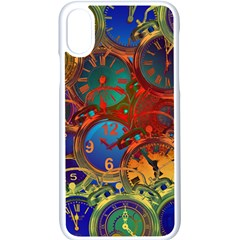 Time Clock Distortion Apple Iphone Xs Seamless Case (white)