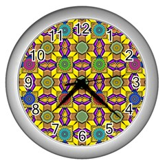 Tile Background Geometric Wall Clock (silver)