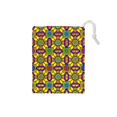 Tile Background Geometric Drawstring Pouch (small)