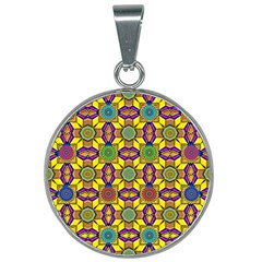 Tile Background Geometric 25mm Round Necklace