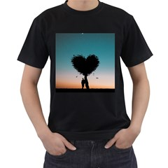 Tree Heart At Sunset Men s T Shirt (black) (two Sided)