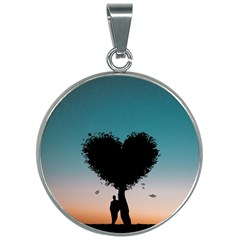 Tree Heart At Sunset 30mm Round Necklace