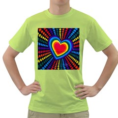Rainbow Pop Heart Green T Shirt