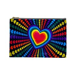 Rainbow Pop Heart Cosmetic Bag (large) by WensdaiAmbrose