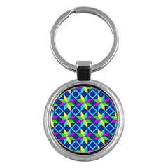 Pattern Star Abstract Background Key Chains (round)