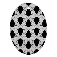 Pattern Beetle Insect Black Grey Ornament (oval)