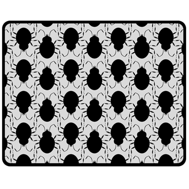 Pattern Beetle Insect Black Grey Fleece Blanket (Medium)