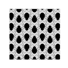 Pattern Beetle Insect Black Grey Small Satin Scarf (square)