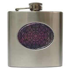 Mandala Neon Symmetric Symmetry Hip Flask (6 Oz)