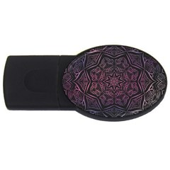Mandala Neon Symmetric Symmetry Usb Flash Drive Oval (2 Gb) by Pakrebo