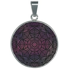 Mandala Neon Symmetric Symmetry 30mm Round Necklace by Pakrebo