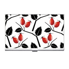 Rose Hip Pattern Branches Autumn Business Card Holder by Pakrebo