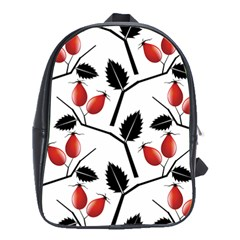 Rose Hip Pattern Branches Autumn School Bag (large)