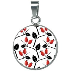 Rose Hip Pattern Branches Autumn 20mm Round Necklace
