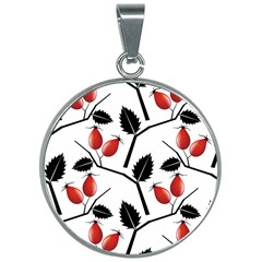 Rose Hip Pattern Branches Autumn 30mm Round Necklace