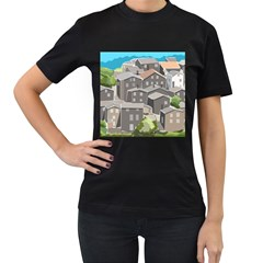 Village Place Portugal Landscape Women s T Shirt (black) (two Sided)