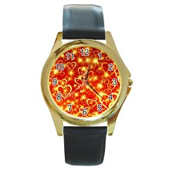 Pattern Valentine Heart Love Round Gold Metal Watch