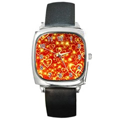 Pattern Valentine Heart Love Square Metal Watch by Mariart