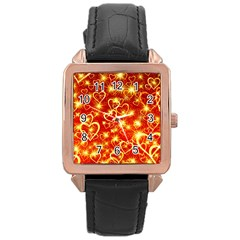 Pattern Valentine Heart Love Rose Gold Leather Watch  by Mariart