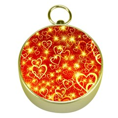 Pattern Valentine Heart Love Gold Compasses